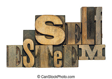 self esteem isol - self esteem phrase made from mixed wooden...
