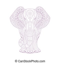 Elephant Stylised Doodle Zen Coloring Book Page Hand Drawn...