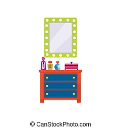Dressing Room Furniture Flat Bright Color Vector...