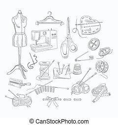Tailor Shop Hand Drawn Equipment Set - Tailor Shop Equipment...