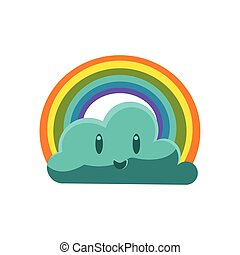 Cloud With Rainbow Arch Cute Childish Style Bright Color...