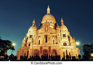 Sacre Coeur Cathedral at dusk in Paris, France