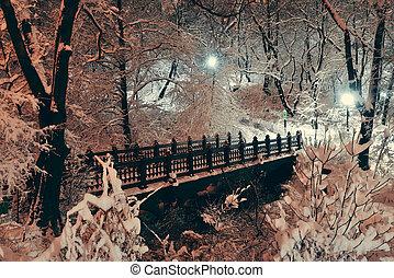 Central Park winter bridge in midtown Manhattan New York...