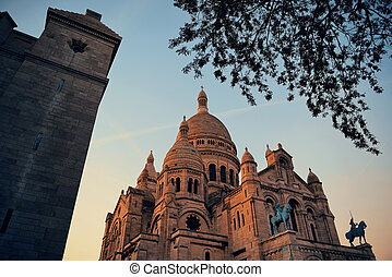 Sacre Coeur Cathedral closeup in Paris, France
