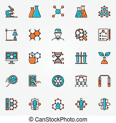 Chemistry and biotechnology icons - flat science colorful...
