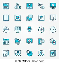 Online education flat icons Webinar and seminar colorful...
