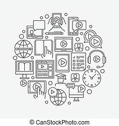 Webinar linear illustration. Vector round online education...