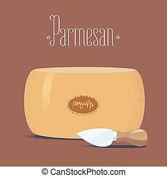 Italian parmesan cheese vector illustration. Design element...