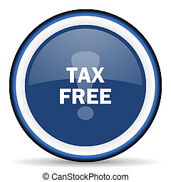 tax free round glossy icon, modern design web element