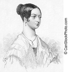Queen Victoria (1819-1901) on engraving from the 1800s....