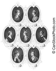 English Kings portraits on engraving from the 1800s...