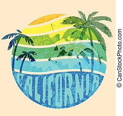 California beach Typography Graphics. T-shirt Printing...