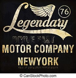 Motorcycle racing legendary typography, t-shirt graphics,...