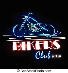 Neon Light signboard for Bikers Club - easy to edit vector...
