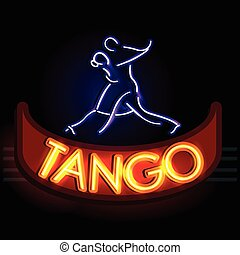 Neon Light signboard for Tango - easy to edit vector...