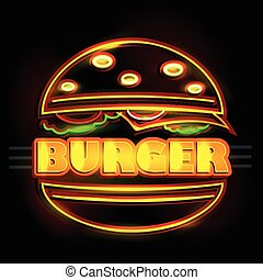 Neon Light signboard for Burger - easy to edit vector...