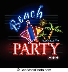 Neon Light signboard for Beach Party