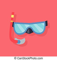 Mask and Tube for Diving - Blue mask and red tube for diving...