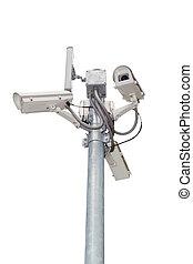 Security cameras (CCTV) or surveillance camera.