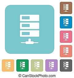 Flat data network icons on rounded square color backgrounds