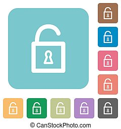 Flat unlocked padlock icons on rounded square color...