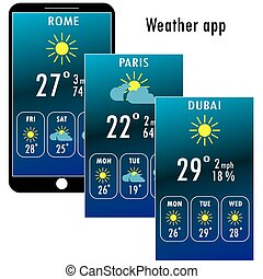 Modern smartphone with weather app on the screen. Flat...
