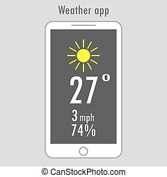 Modern smartphone with weather app on the screen - Modern...