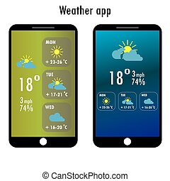 Modern smartphone with weather app on the screen Flat design...