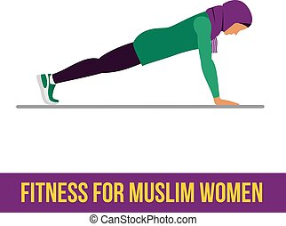 Muslim aerobic icons. Full color - Muslim woman in fitness,...