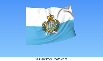 Waving flag of San Marino, seamless loop. Exact size, blue background. Part of all countries set. 4K ProRes with alpha