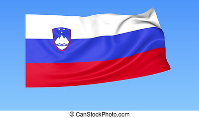 Waving flag of Slovenia, seamless loop. Exact size, blue...
