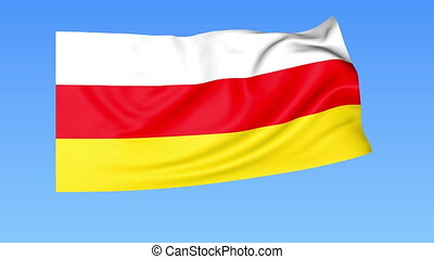 Waving flag of South Ossetia, seamless loop. Exact size,...