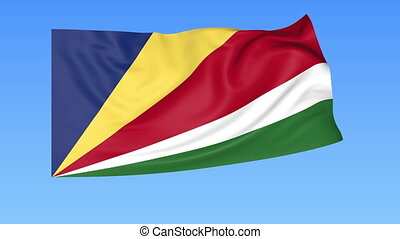 Waving flag of Seychelles, seamless loop. Exact size, blue...