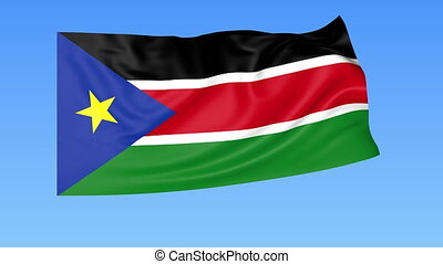 Waving flag of South Sudan, seamless loop. Exact size, blue background. Part of all countries set. 4K ProRes with alpha