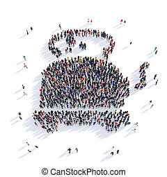 people tea shape 3d - Large and creative group of people...