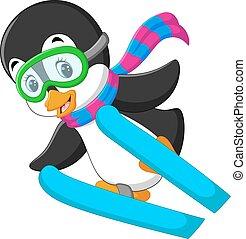 cute penguin skiing cartoon