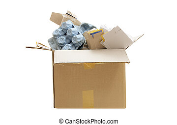 Box of Paper Rubbish for Recycle on White Background