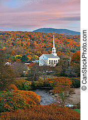 Stowe sunset - Stowe at sunset in Autumn with colorful...