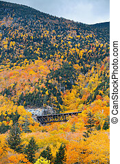 White Mountain - Colorful Autumn foliage and railway bridge...