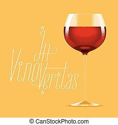 Glass of red wine vector illustration. Design element with...