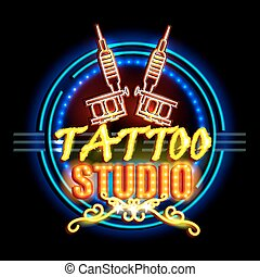 Neon Light signboard for Tattoo Studio - easy to edit vector...