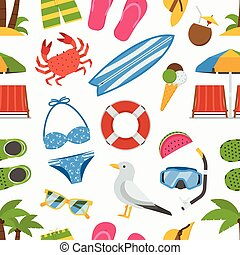 Print - Summer beach seamless background. Sea vacation...