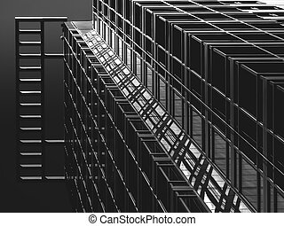 Building Elevation - BW Building elevaiton shadows