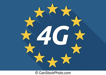 Long shadow European Union flag with    the text 4G