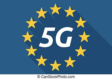 Long shadow European Union flag with    the text 5G