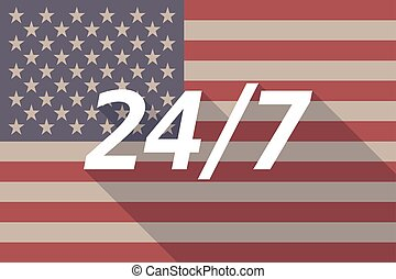 Long shadow USA flag with    the text 24/7