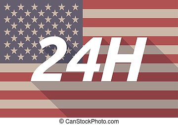 Long shadow USA flag with    the text 24H