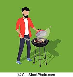Father and Son Preparing Barbecue