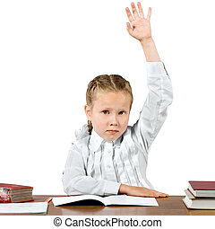 Schoolgirl hand up