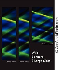 3 Sizes Blue Green Web Banners